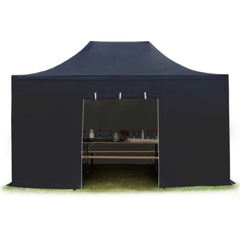 TOOLPORT PopUp Gazebo Party Tent 3x4,5m - without windows PROFESSIONAL 100% waterproof roof marquee black