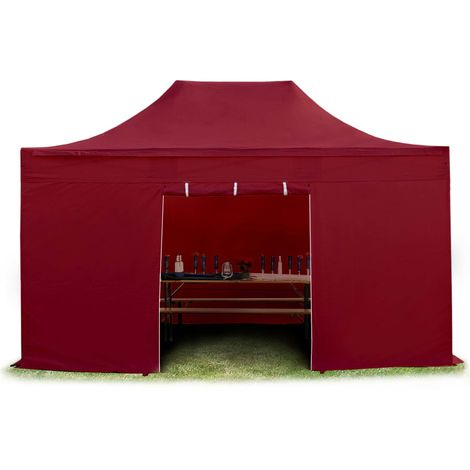 TOOLPORT PopUp Gazebo Party Tent 3x4,5m - without windows PROFESSIONAL 100% waterproof roof marquee red