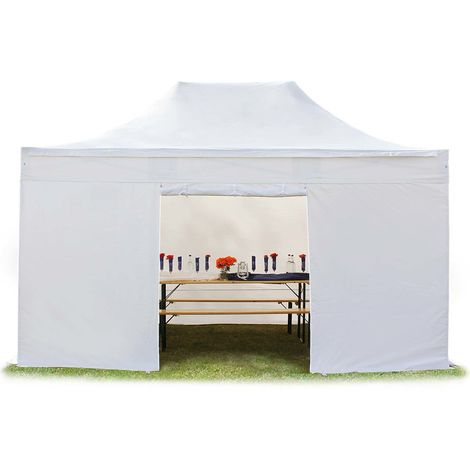 TOOLPORT PopUp Gazebo Party Tent 3x4,5m - without windows PROFESSIONAL 100% waterproof roof marquee white