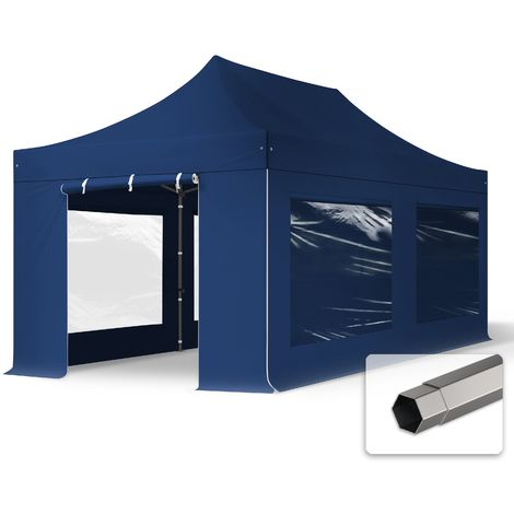 TOOLPORT PopUp Gazebo Party Tent 3x6m - with panorama windows PROFESSIONAL 100% waterproof roof marquee blue