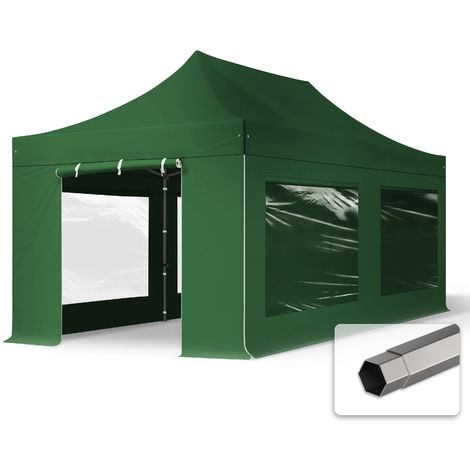 TOOLPORT PopUp Gazebo Party Tent 3x6m - with panorama windows PROFESSIONAL 100% waterproof roof marquee dark green