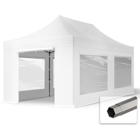 TOOLPORT PopUp Gazebo Party Tent 3x6m - with panorama windows PROFESSIONAL 100% waterproof roof marquee white