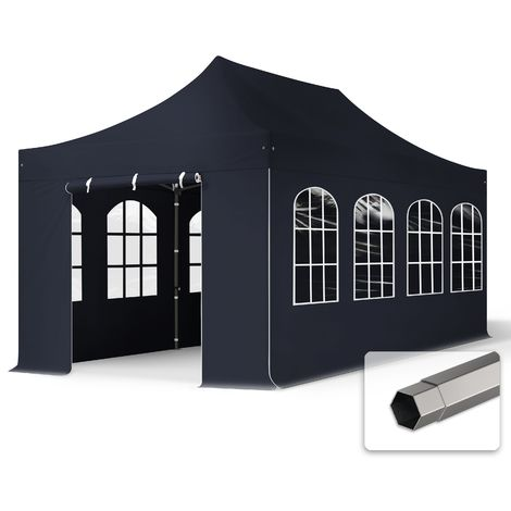 TOOLPORT PopUp Gazebo Party Tent 3x6m - with windows PROFESSIONAL 100% waterproof roof marquee black