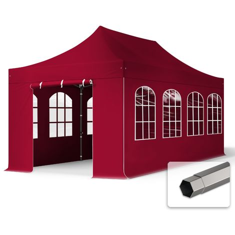TOOLPORT PopUp Gazebo Party Tent 3x6m - with windows PROFESSIONAL 100% waterproof roof marquee red