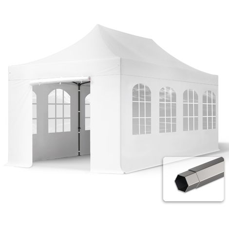 TOOLPORT PopUp Gazebo Party Tent 3x6m - with windows PROFESSIONAL 100% waterproof roof marquee white