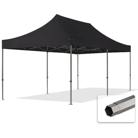 TOOLPORT PopUp Gazebo Party Tent 3x6m - without side panels PROFESSIONAL 100% waterproof roof marquee black