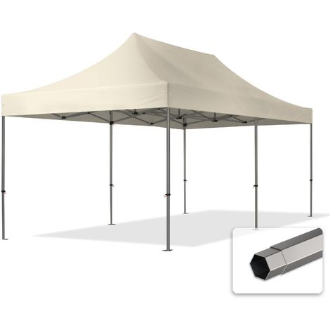 TOOLPORT PopUp Gazebo Party Tent 3x6m - without side panels PROFESSIONAL 100% waterproof roof marquee cream