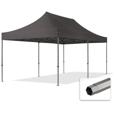 TOOLPORT PopUp Gazebo Party Tent 3x6m - without side panels PROFESSIONAL 100% waterproof roof marquee grey