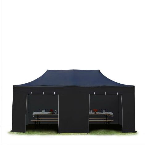 TOOLPORT PopUp Gazebo Party Tent 3x6m - without windows PROFESSIONAL 100% waterproof roof marquee black