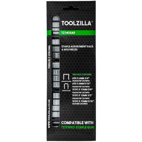 TOOLZILLA Staple Assortment Pack 4,400 Pieces