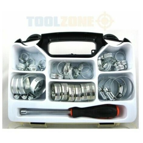 Toolzone 35pc 8-44 mm Stainless Steel Hose Jubilee Clip Clamp Set w Driver Tool