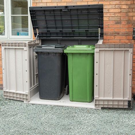 "main image of ""Toomax Extra Large Grey 1200L Plastic Outdoor Garden Storage Unit / Wheelie Bin Store"""