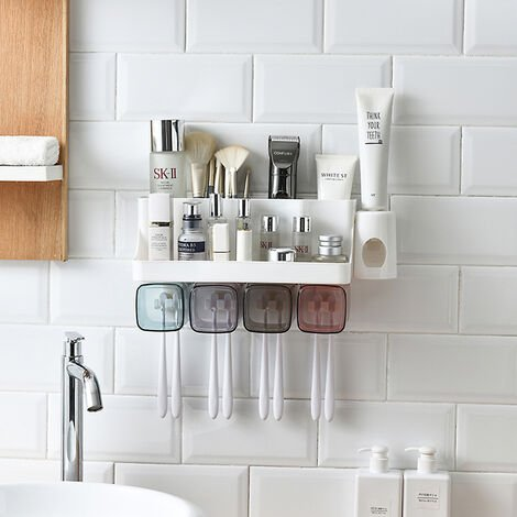 """main image of """"Toothbrush holder Bathroom holder, Four family, with toothpaste"""""""