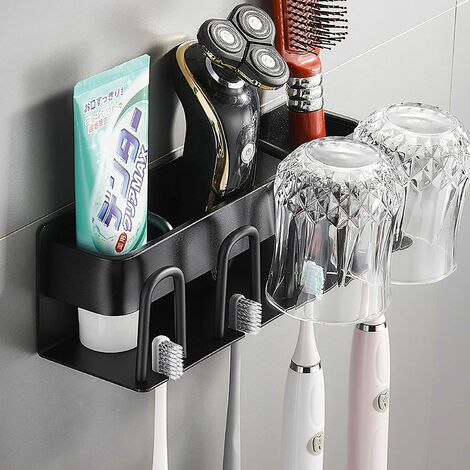 """main image of """"Toothbrush Holder, Toothbrush Holder, Toothbrush Holder / Wall Bracket, Toothbrush Cup Holder, No Drill, For Razor, Toothpaste, Comb, Toothbrush Head (silver)"""""""
