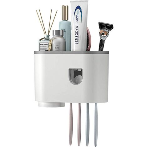 """main image of """"Toothbrush Holder Wall Mounted, Multifunctional Automatic Toothpaste Dispenser Space Saving Family Toothbrush Holder for Bathroom, with Cups and Drawers Cosmetic Organizer (1 Cup)"""""""
