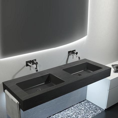 Top con doppio lavabo integrato effetto Ardesia 140X50 cm realizzato ...