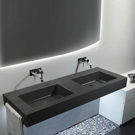 Top con doppio lavabo integrato effetto Ardesia 170X50 cm realizzato in  marmo resina Relax Design BIG L