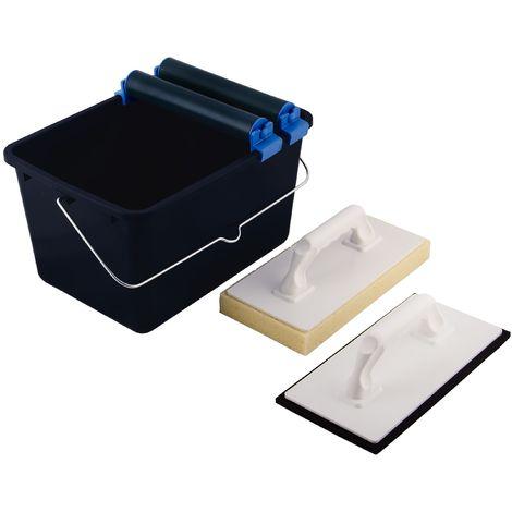 Top Deal 1801673Suki Piastrelle lavaggio Set 5pezzi blu con rotelle doppie, 1inserto per piastrelle washboard, 1–Frattazzo in plastica con caucciù, 1secchio da 12litri, Nero