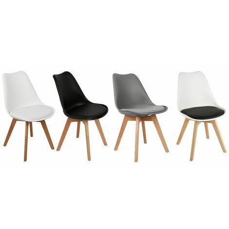 TOP !! Lot de 4 chaises scandinaves BLANC avec coussin