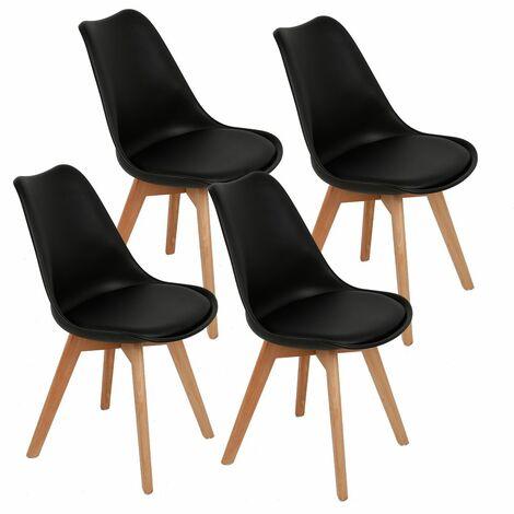 TOP !! Lot de 4 chaises scandinaves NOIR avec coussin