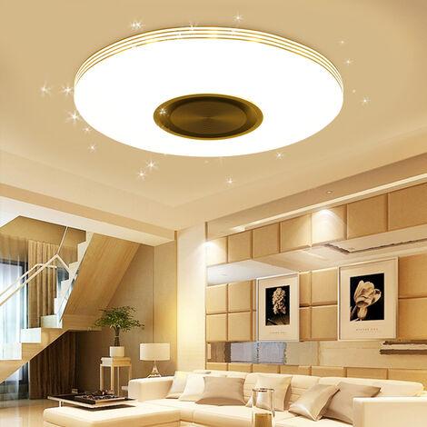 TOP VENTE 80W 40cm Musique Plafonnier avec télécommande lampe RGB Multicouleur LED rond APP bluetooth haut-parleur intelligent