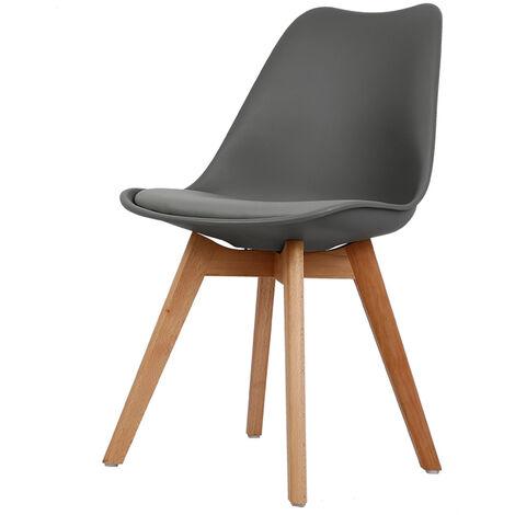 TOP VENTES!!!Lot de 4 chaises scandinave avec coussin super qualité noir blanc - noir blanc
