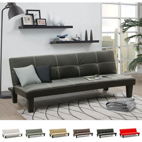 TOPAZIO 3-Seat Convertible Sofa Bed Made Of Faux Leather