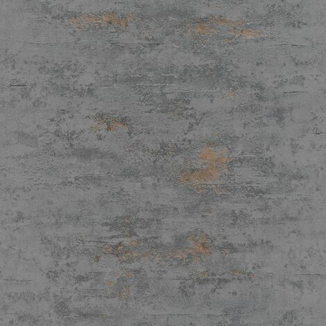Topchic Papel pintado estilo hormigón gris y dorado