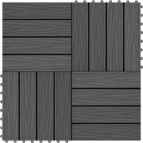 Topdeal 11 pcs Decking Tiles Deep Embossed WPC 30x30 cm 1 sqm Black VDTD29188