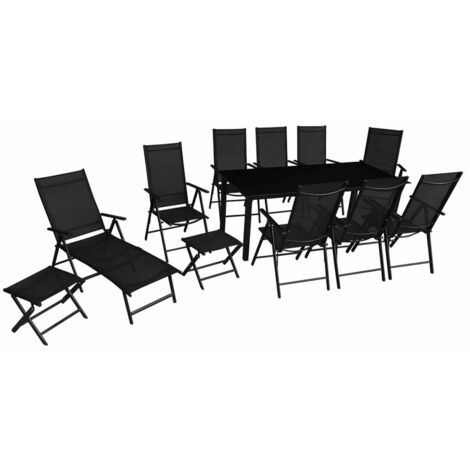 Topdeal 12 Piece Outdoor Dining Set Aluminium Black VDTD26675