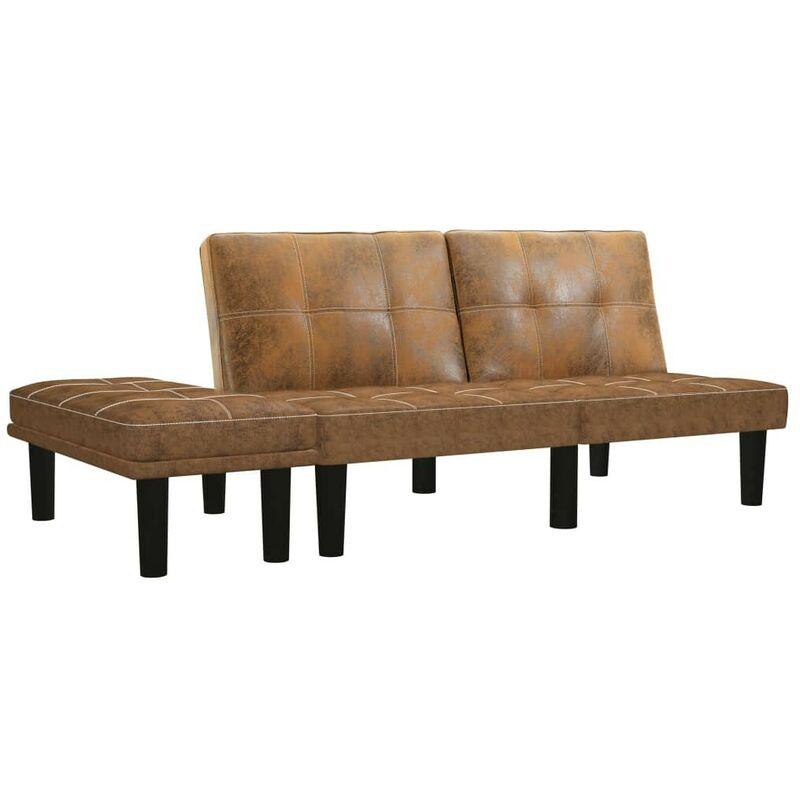 2-Sitzer-Sofa Braun Wildleder-Optik 25061 - Topdeal