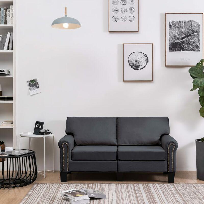 Topdeal 2-Sitzer-Sofa Dunkelgrau Stoff 37200