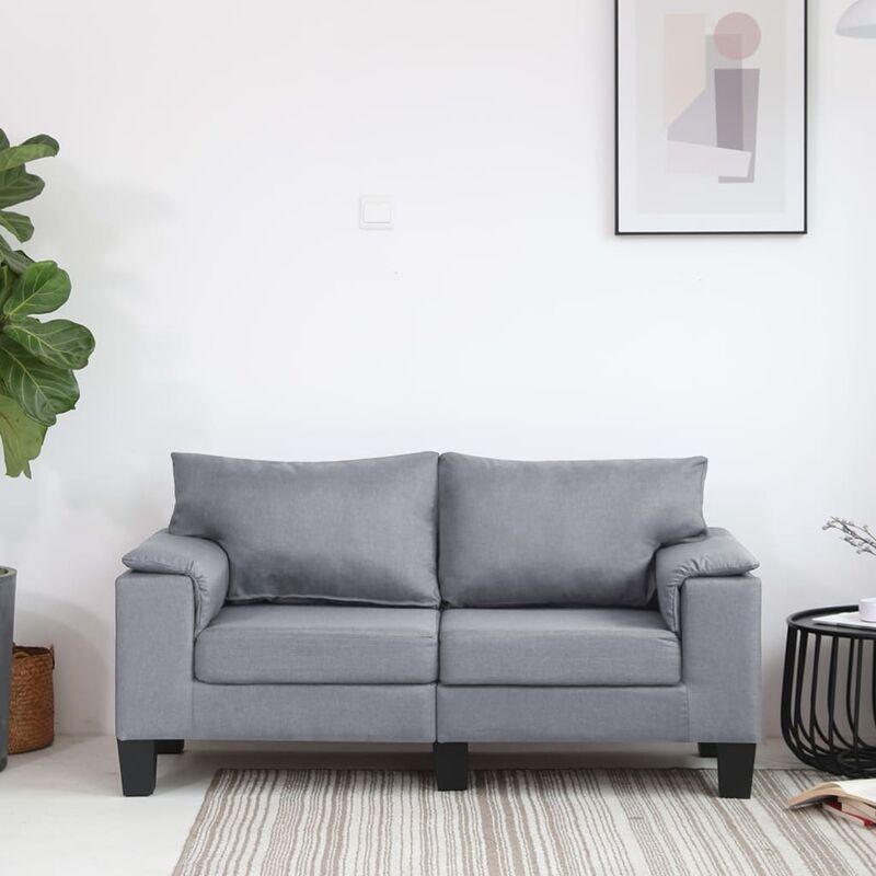 2-Sitzer-Sofa Hellgrau Stoff 37120 - Topdeal