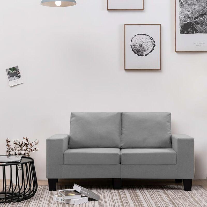 2-Sitzer-Sofa Hellgrau Stoff 37159 - Topdeal