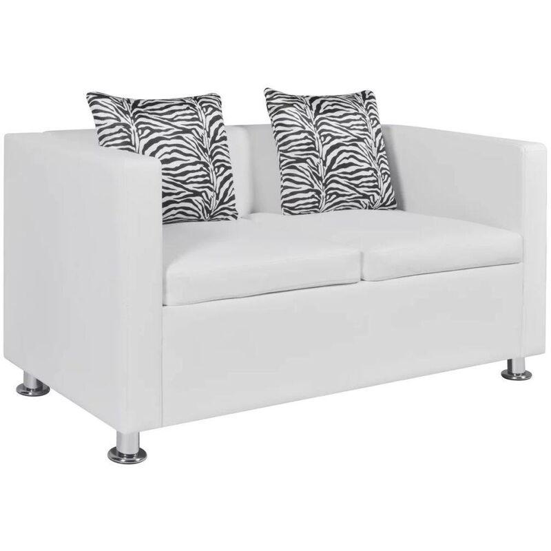 Topdeal 2-Sitzer-Sofa Kunstleder Weiß 09137