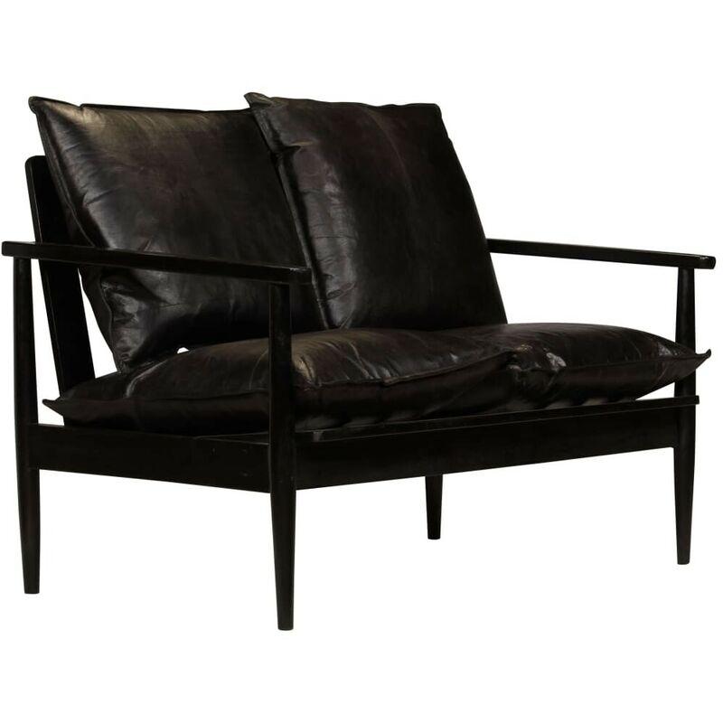 2-Sitzer-Sofa Leder mit Akazienholz Schwarz 12414 - Topdeal