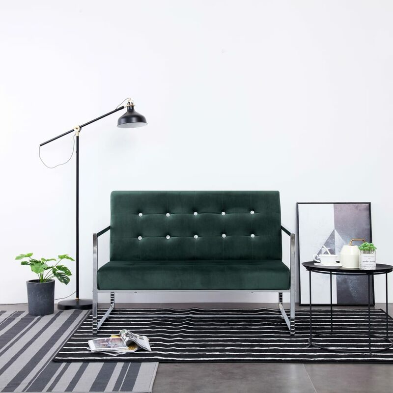 Topdeal 2-Sitzer-Sofa mit Armlehnen Dunkelgrün Chrom und Samt 23449