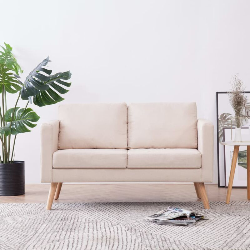 Topdeal 2-Sitzer-Sofa Stoff Cremeweiß 22950
