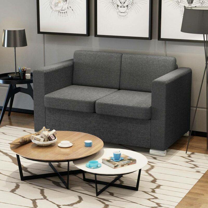 2-Sitzer Sofa Stoff Dunkelgrau 09918 - Topdeal