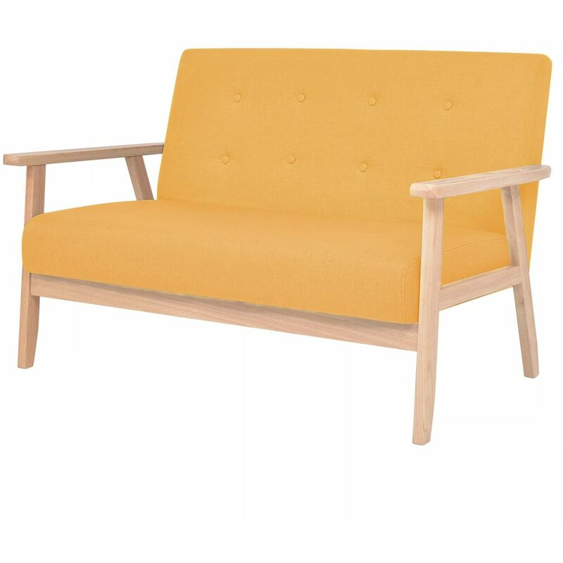 2-Sitzer Sofa Stoff Gelb 10733 - Topdeal