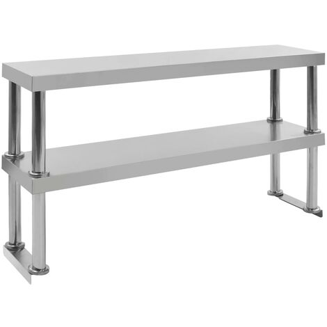Topdeal 2-Tier Work Table Overshelf 120x30x65 cm Stainless Steel VDTD47116