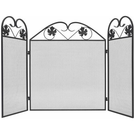 Topdeal 3-panel Fireplace Screen Iron Black VDTD09009