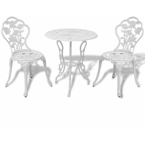 Topdeal 3 Piece Bistro Set Cast Aluminium White VDTD26834