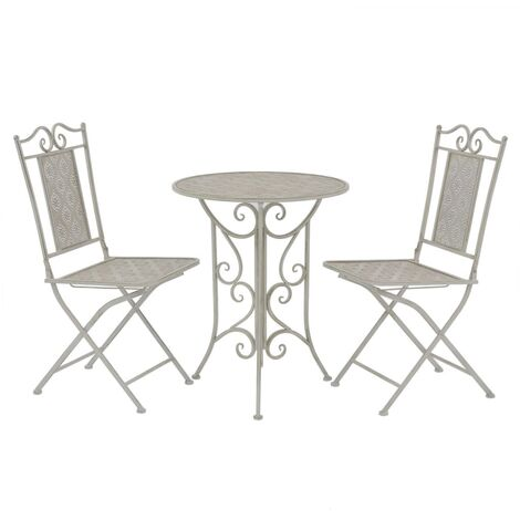 Topdeal 3 Piece Bistro Set Steel Grey VDTD27538