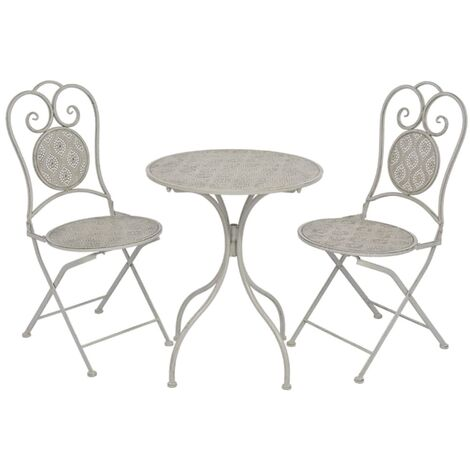 Topdeal 3 Piece Bistro Set Steel Grey VDTD27539