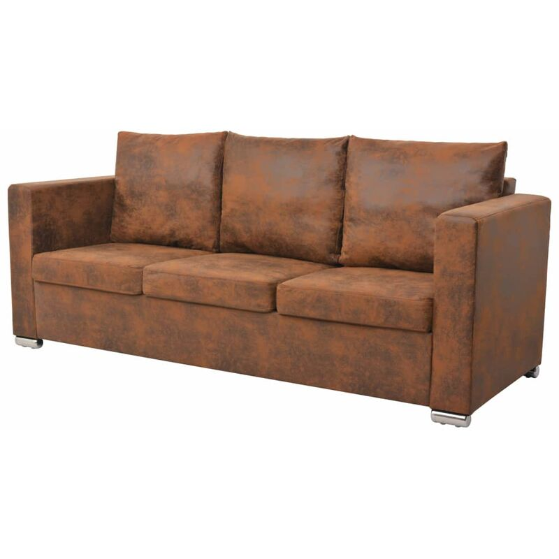 Topdeal 3-Sitzer Sofa 191 x 73 x 82 cm Künstliches Wildleder 10765