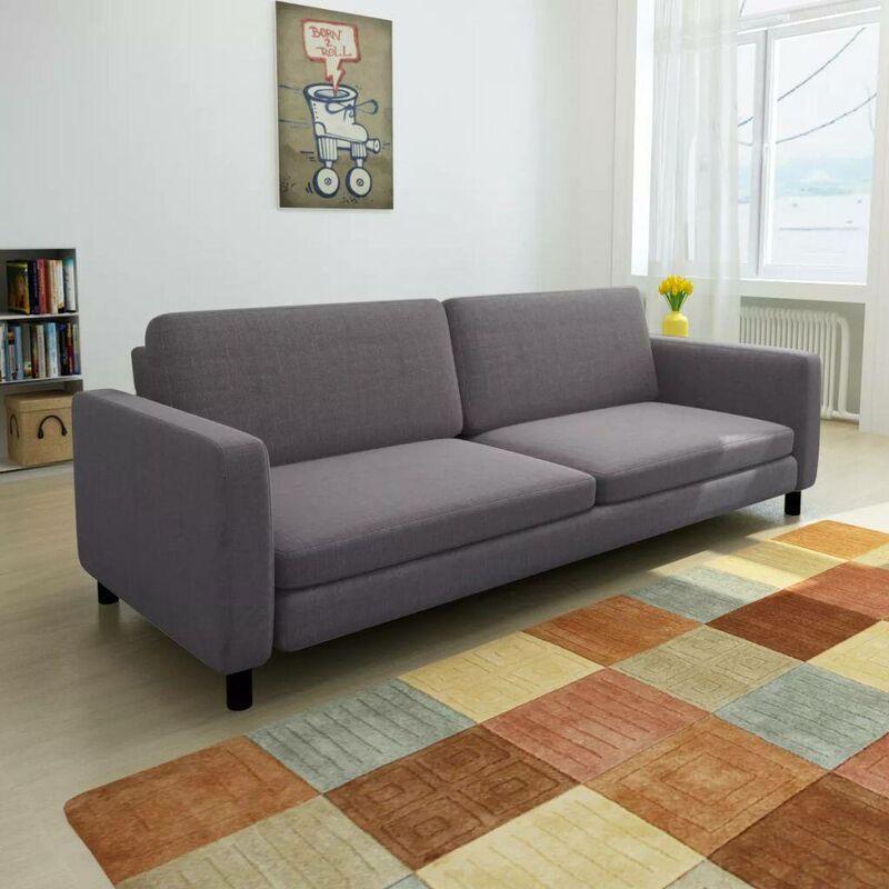 3-Sitzer-Sofa Dunkelgrau Stoff 10437 - Topdeal