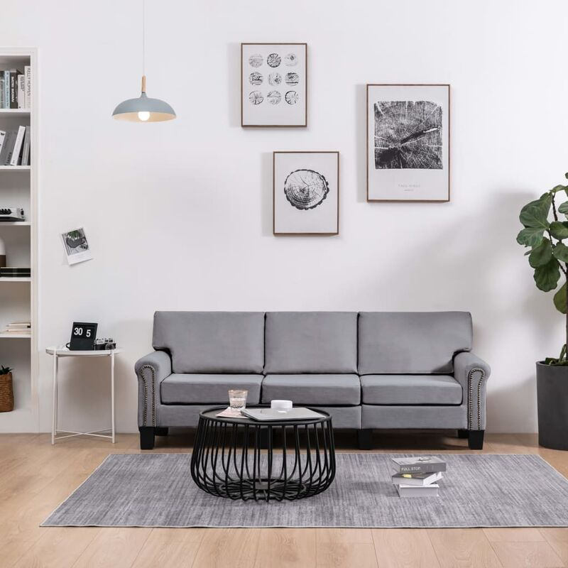 3-Sitzer-Sofa Hellgrau Stoff 37209 - Topdeal