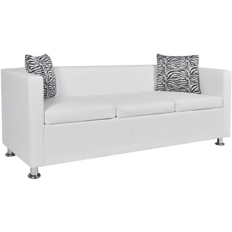 3-Sitzer-Sofa Kunstleder Weiß 09136 - Topdeal