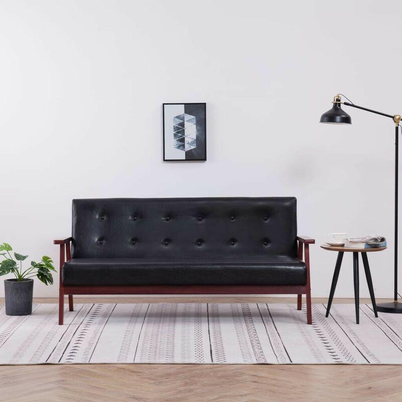 3-Sitzer-Sofa Schwarz Kunstleder 14178 - Topdeal
